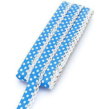 buttinette Baumwoll-Schrägband 'Punkte' mit Häkelborte, blau-weiss, 3 m