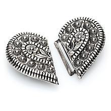 buttinette Boucle en métal 'cœur', argent, 40 x 30 mm