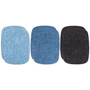 Kleiber Jeans-Flicken Mini, Größe: 9 x 7 cm, Farbe: hellblau/mittelblau/schwarz, Inhalt: 3 Paar