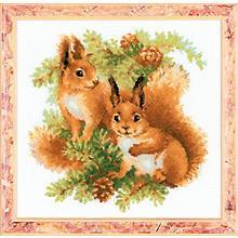 Tableau à broder 'écureuil', 25 x 25 cm