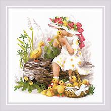 Stickbild 'Mädchen mit Entenküken', 30 x 30 cm