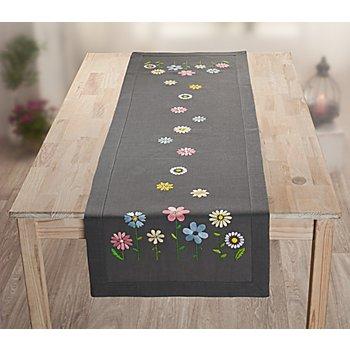 Chemin de table à broder 'Happy Flowers'