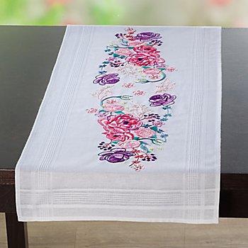 Chemin de table à broder 'bouquet de roses'