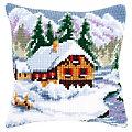 """Kreuzstichkissen """"Hütte im Schnee"""""""
