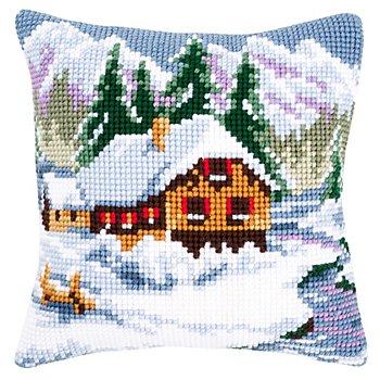 Kreuzstichkissen 'Hütte im Schnee'