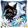 """Kreuzstichkissen """"Katze im Mondlicht"""""""