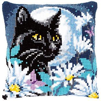 Kreuzstichkissen 'Katze im Mondlicht'
