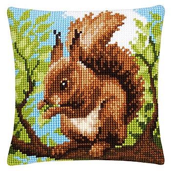 Devant de coussin à broder 'écureuil'