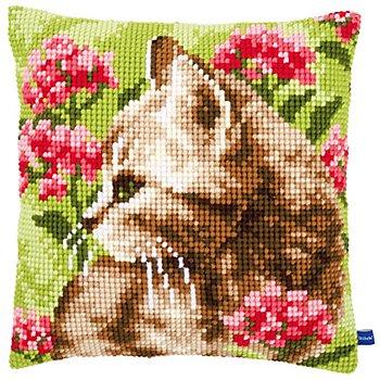Kreuzstichkissen 'Katze im Garten'