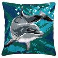"""Kreuzstichkissen """"Delfin Blue Sea"""""""