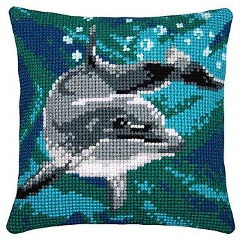 Kreuzstichkissen 'Delfin Blue Sea'