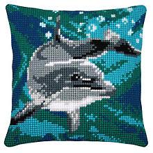 Devant de coussin à broder 'dauphin mer bleue'