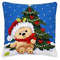 """Devant de coussin à broder """"ours de Noël"""""""