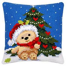 Devant de coussin à broder 'ours de Noël'