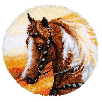 buttinette Tapis au point noué 'cheval western', 55 cm Ø