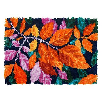 Knüpfteppich 'Blätter', 53 x 39 cm