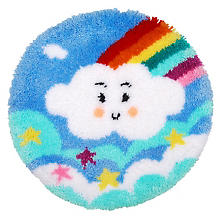 Knüpfteppich 'Wolke', Ø 55 cm