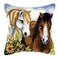 """Devant de coussin """"amis chevaux"""""""