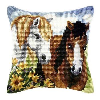 Devant de coussin 'amis chevaux'