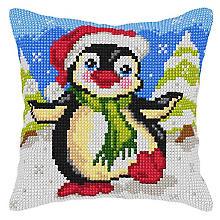 Kreuzstichkissen 'Kleiner Pinguin'