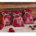 """Petits sachets à broder """"Noël rouge/blanc"""", set de 3 pièces"""
