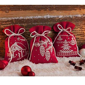 Petits sachets à broder 'Noël rouge/blanc', set de 3 pièces