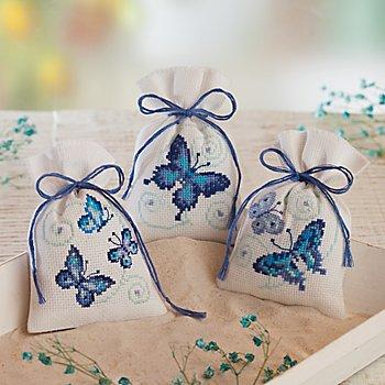 Petits sachets à broder 'papillons bleus', set de 3 pièces
