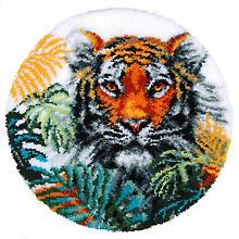 buttinette Knüpf-Formteppich 'Tiger', Ø 67 cm
