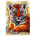 """Tapis au point noué """"bébé tigre"""""""