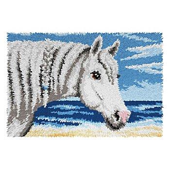 Knüpfteppich 'Pferd am Meer'