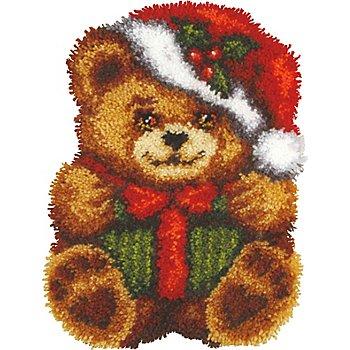 Tapis au point noué 'ourson de Noël'