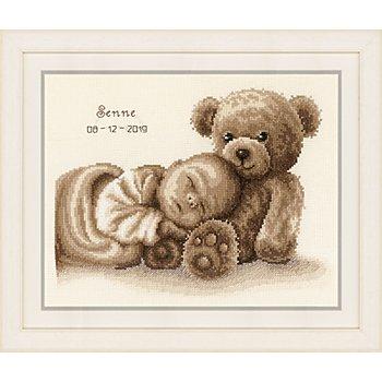 Stickbild 'Baby & Bär', 28 x 22 cm
