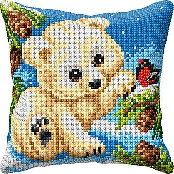 Kreuzstichkissen 'Kleiner Eisbär'