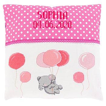 Housse de coussin de naissance à broder 'petit éléphant', rose