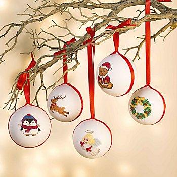 buttinette Stickpackung 'Weihnachtskugeln Tradition', 5er-Set