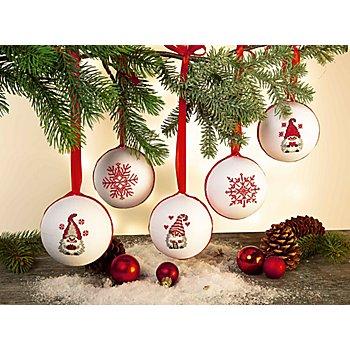 buttinette Stickpackung 'Weihnachtskugeln Wichtel', 5er-Set