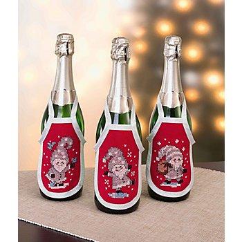 Flaschenschürzen 'Wichtel', 3er-Set, rot