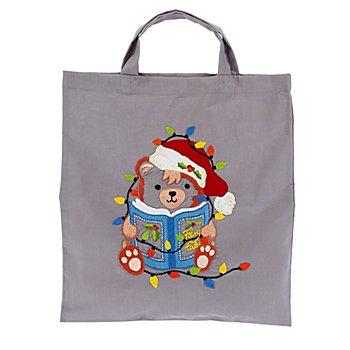 buttinette Baumwolltasche 'Weihnachts-Teddy'