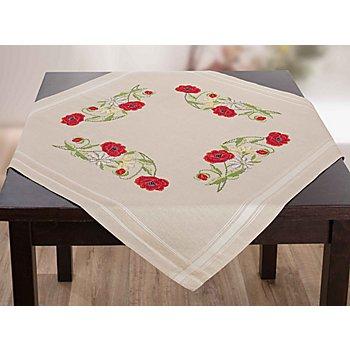 Nappe à broder 'coquelicots', 80 x 80 cm