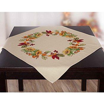 Stickmitteldecke 'Sonnenblumen-Kranz'