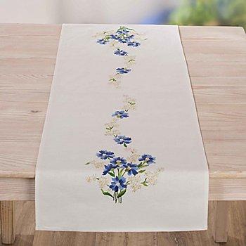 Chemin de table à broder 'bleuets'
