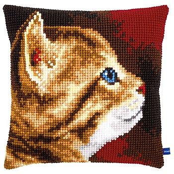 Devant de coussin à broder 'portrait de chat'