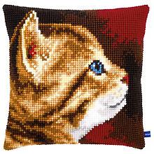 Kreuzstichkissen 'Katzenportrait'