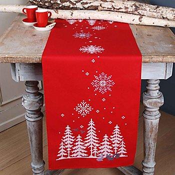 Chemin de table à broder 'bois sous la neige'