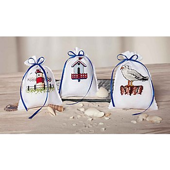 Petits sachets à broder 'bord de mer', set de 3 pièces