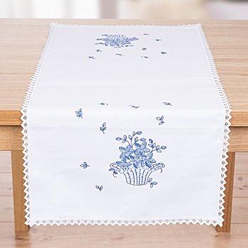 Stickläufer mit Spitze 'Blaue Blüten'