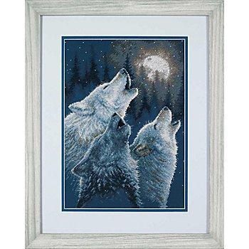 Tableau à broder 'loups', 25 x 36 cm