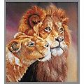 Stickbild Löwenpaar, 17 x 19 cm