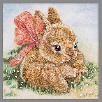 Tableau à broder 'petit lapin', 9 x 9 cm