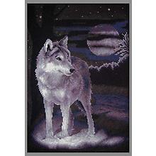 Tableau à broder 'loup', 24,5 x 36 cm